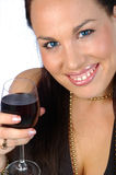 Brunette with red wine. Happy brunette with ice blue eyes and red wine isolated on white Stock Photo