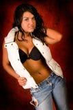 Brunette in reggiseno e maglia Fotografie Stock