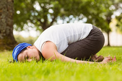 Brunette relaxing and meditating on grass Royalty Free Stock Photo