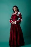 Brunette in renaissancekostuum Royalty-vrije Stock Afbeeldingen
