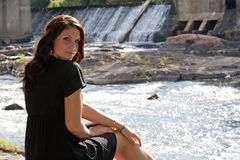 Brunette by the River Stock Images