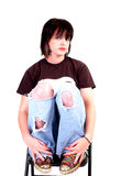 Brunette Rocker Girl royalty free stock image