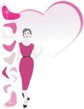Brunette rosso del vestito 50s Fotografie Stock