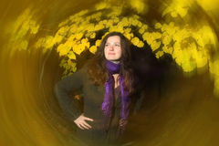 Brunette with rotating effect Royalty Free Stock Images