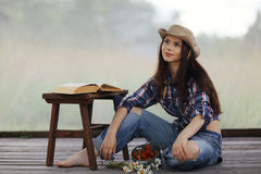 Brunette in  rustic style Royalty Free Stock Image