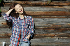 Brunette in  rustic style Royalty Free Stock Photography