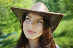 Brunette in  rustic style Stock Image