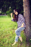 Brunette in rustic style Stock Photography