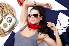Brunette in sailor style Royalty Free Stock Photos