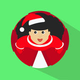 Brunette Santa girl cartoon character top view button  illustrator. Brunette Santa girl cartoon character top view button Royalty Free Stock Image