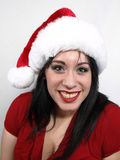 Brunette in Santa Hat Royalty Free Stock Photography