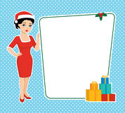 Brunette in a Santa hat holding blank board. Vector illustration of a cartoon beautiful brunette with blue eyes in a red sheath dress and santa hat holding a Stock Photos
