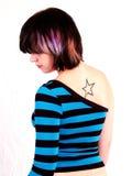 Brunette-Schalthebel-Mädchen Stockfotos