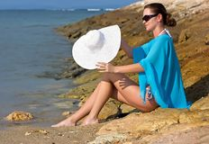 Brunette at the sea Royalty Free Stock Photos