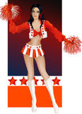 Brunette sexy cheerleader Stock Images