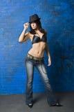 Brunette sexy dans le soutien-gorge noir Images stock
