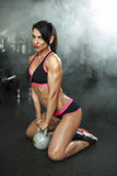 Brunette sexy fitness girl in sport wear with perfect body in the gym posing before training set Stock Image