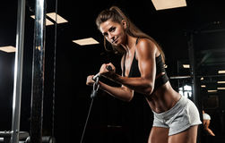 Brunette fitness girl in sport wear with perfect body in th stock photo