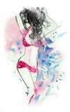 Brunette sexy nell'acquerello della biancheria Fotografia Stock Libera da Diritti