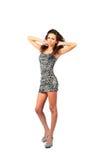 Brunette 'sexy' no vestido parti-coloured Imagem de Stock
