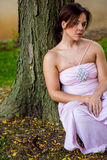 Brunette sexy young woman girl lady female in formal attire. Stock Image