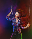 Brunette in shirt and jeans Royalty Free Stock Photos