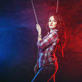 Brunette in shirt and jeans Royalty Free Stock Photo