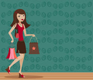Brunette Shopper royalty free illustration