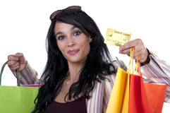 Brunette shopping Royalty Free Stock Photography