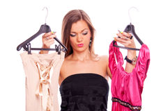 Brunette shopping dresses Royalty Free Stock Image