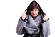 Brunette short-haired girl in stylish grey coat Royalty Free Stock Photography