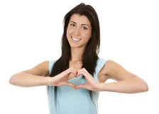 Brunette showing heart Stock Photo