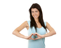 Brunette showing heart Stock Image