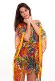 Brunette in silky dress Stock Images