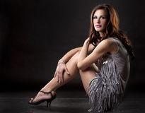 Brunette and silver dress Royalty Free Stock Photo