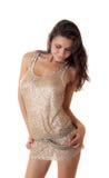 Brunette in a silvery dress Stock Photo