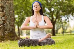 Brunette sitting in lotus pose with hands together Stock Photography