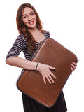 Brunette smiling woman holding a suitcase has travel Stock Image