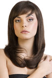 Brunette with smooth hair Royalty Free Stock Image