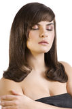 Brunette with smooth hair Royalty Free Stock Photos