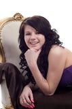 Brunette sorridente Fotografie Stock Libere da Diritti