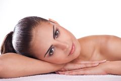Brunette spa woman Stock Images