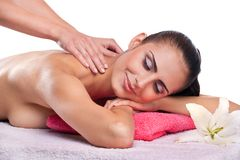 Brunette spa woman Stock Photo
