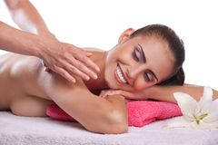 Brunette spa woman stock photography