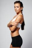 Brunette in sportuitrusting. Royalty-vrije Stock Foto's