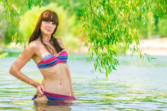 Brunette in a striped bikini Royalty Free Stock Image
