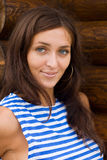 Brunette in a striped shirt Royalty Free Stock Photo