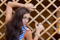 Brunette in striped shirt Royalty Free Stock Photography