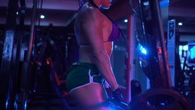 Brunette strong fitness woman at the gym
