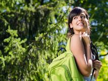 Brunette student girl outdoor Stock Image
